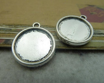 30PCS Double Sided 16mm Round Bezel Setting, Antique Silver/ Antique Bronze as your choice