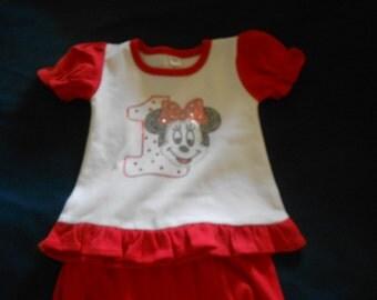 Minnie with #1  Rhinestone 2 piece outfit