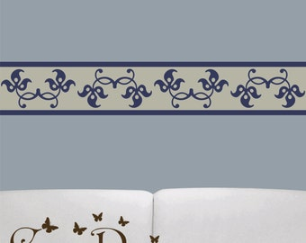 12 ft x 6 inch Reusable Fabric Border,  Removable, reusable and repositionable fabric decal