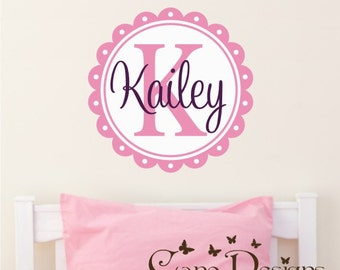 Custom  Monogram name Reusable fabric decal,  Removable, reusable and repositionable fabric decal
