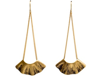 Gold Long Fan Earrings