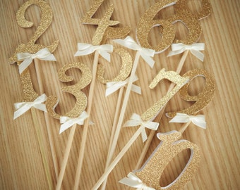 Table Numbers on Sticks.  Handcrafted in 2-3 Business Days.  Glitter Number Centerpiece.