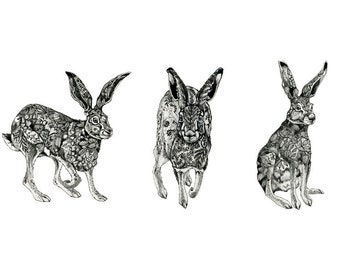 Hare Trio Print Pen and Ink drawing Hares 8x11 Giclee print