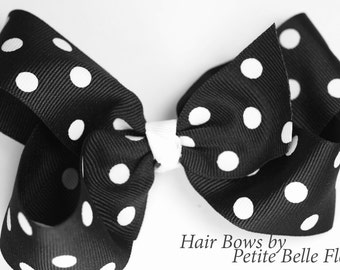 Hair Bow Barrette | Medium Hair Bow | Black & White Boutique Hair Bow | Hairbow, Barette Bow | Clip Bow