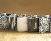 Bridesmaids Gifts Special  ANY 7 Prints 6 oz Flasks ALL with Rhinestone Initial KR2D 7785