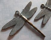Realistic Antiqued Brass Dragonfly Pendants with Blue Green Patina - 48 X 44mm - Qty 2