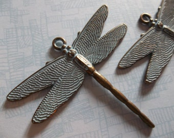 Realistic Antiqued Brass Dragonfly Pendants with Blue Green Patina - 48 X 44mm - Qty 1