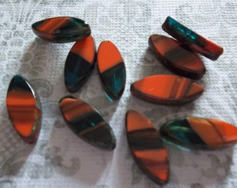 Designer Czech Glass Beads - 17mm X 7mm - Opaque Orange with Transparent Aqua Mix & Picasso -  Pointed Oval Beads - Qty 6