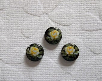 Vintage Decal Picture Stones - Yellow Rose on Black Cameo -  8mm Round Glass Cabochons - Qty 6