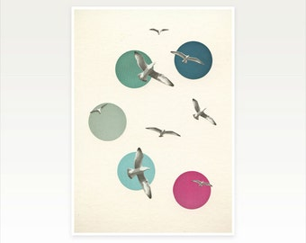 Bird Art Print, Coastal Decor, Seaside Print, Blue and Pink Decor - Circling