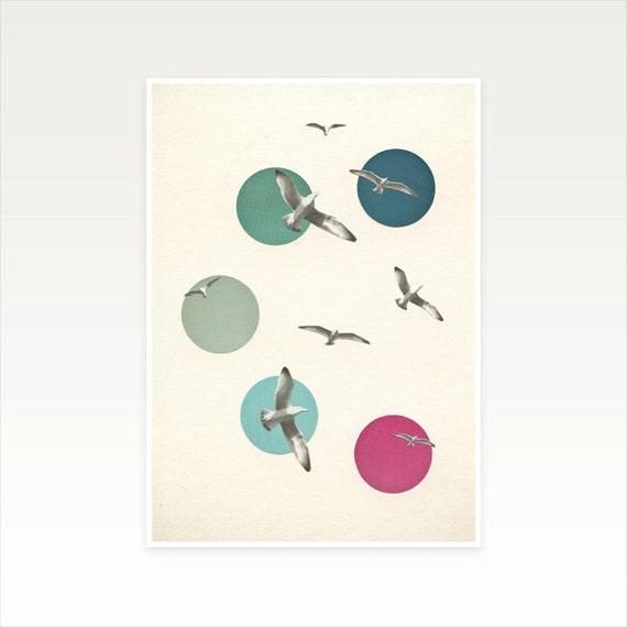 Bird Art Print, Coastal Decor, Seaside Print, Blue and Pink Decor - Circling