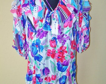 Vintage Diane Fres Lingerie Colorful Top Nightie Dress OSFA