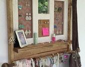 Rustic Jewelry organizer, Pink Chevron, Mirrored Jewelry Organizer, Jewelry Organizer, Dorm Room, Girl's Room