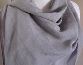 """Beautiful Solid Gray Silver Soft Poly Scarf - 19"""" x 72"""" Long - Unused"""