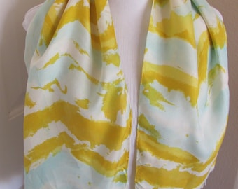Vintage Ladies Yellow White Silk Scarf - 15 x 44 Long