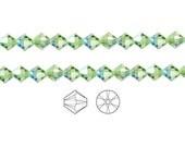Swarovski Crystal Beads Peridot AB 5328 Xilion Bicone 3mm Package of 48