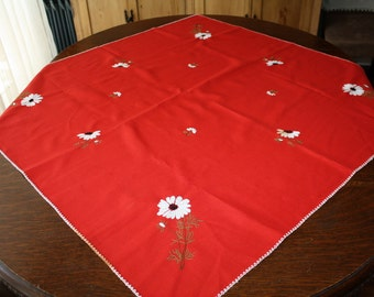 Vintage Tea Cloth Tablecloth Embroidered Red with Daisies 34 x 35