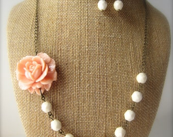 Set of 6 Bridesmaid Jewelry Sets Flower Necklace Peach Rustic Wedding Jewelry Pink Peach Jewelry Peach Bridesmaid Necklace Peach Wedding