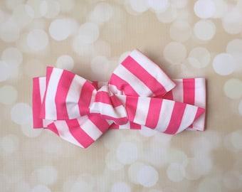 Head Wrap in Premium Designer Woven Cotton - Pink and White Stripe Head Wrap - Headband - Turban - Toddler Head Wrap - Newborn Photo Prop