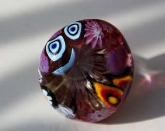 Claire  III ring - genuine Murano glass - multicolor millefiori ring - upcycled