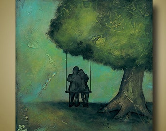Couple Swinging Print Teal Green Art Limited Edition Signed Print -- Grow Old With Me