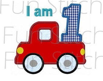 Set of 9 truck birthday applique numbers machine embroidery designs