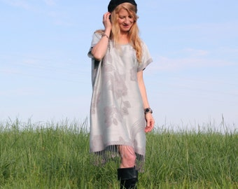 Caftan Dress in Silver Gray Floral Cashmere & Silk with Fringe . Hippie Boho Style kaftan . One Size Fits All