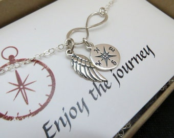Compass infinity necklace, journey necklace, enjoy your journey, angel wing charm, gift for graduation, graduate, protection