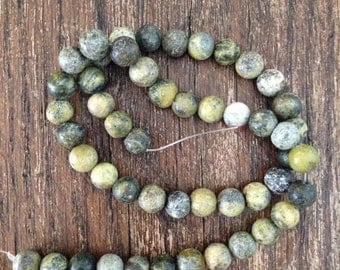 8mm African Lemon Turquoise Beads, Full Strand