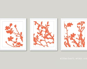 Modern Magnolia Tree in Bloom Art Prints / Magnolia Tree Trio / Coral and White Art / Spring Tree Home Decor / Magnolia Triptych