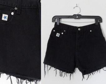 90s Black Denim Highwaisted Cutoff Shorts Hipster Grunge Goth 26 inch waist
