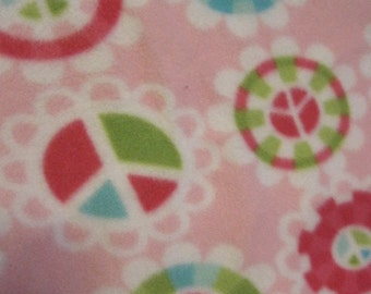 Peace Signs on Pink with Pink 2 Layer Couch Throw - Ready to Ship Now