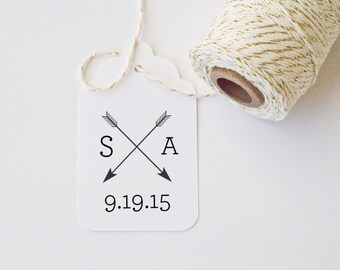 Monogram Arrows Wedding Favor Stamp Customized with Initials and Date