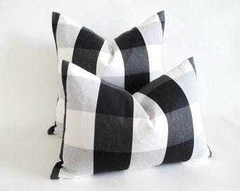 Pillow Cover Buffalo Check Black White Grey Zipper