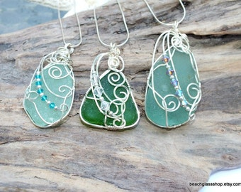 Sterling Sea Glass Necklace - Beach Glass Jewelry - Lake Erie Glass - FREE Shipping inside the United States