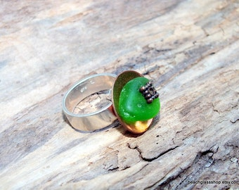 Seaglass Ring - Sterling Band Ring - Domed Ring -  Lake Erie Beach Glass