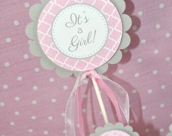 Girls Baby Shower Cake Topper - It's A Girl Cake Topper - Pink and Gray - Girl Baby Shower Decorations - Baby Shower