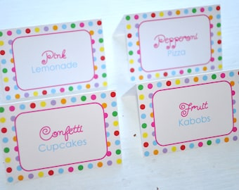 Birthday Food Label Tent Cards - Buffet Labels, Placecards - 1st Birthday Party Decorations - Colorful Polkadots - Set of 12