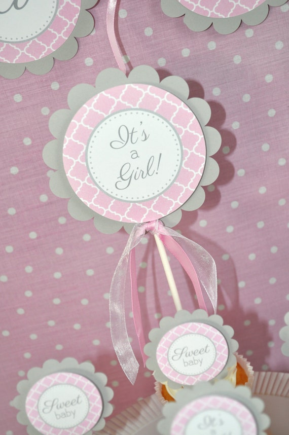 Cake Toppers Baby Shower Girl : Girls Baby Shower Cake Topper It s A Girl Cake Topper