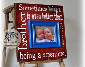 Twins, Brothers, Boy Baby Gift, Superhero, red white and blue, Personalized Picture Frame, Godchild, Shower Gift, 16x16 The Sugared Plums