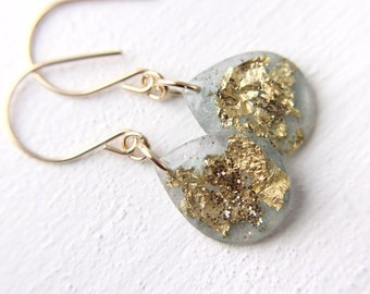 seafoam earrings with gold leaf and gold glitter, gold glitter earrings, teardrop earrings, green earrings, gold leaf earrings