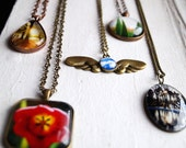 Clouds with Wings Photo Jewelry Necklace, Surreal Statement Jewelry