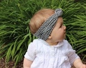 Black and White Cotton Jersey Knit Reversible Topknot Headband