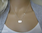 Cross NecklaCe with Initials - Mom Necklace - Mother Gifts - Christian Jewelry with Initials - One Two Three Initial - For Women