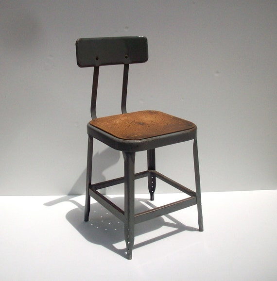 Vintage Industrial Metal Factory Shop Stool Or Chair Lyon