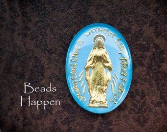 25x18mm Oval Intaglio Glass Cabochon of Virgin Mary, Madonna, Catholic, Religious, Blue and Gold Handpainted, Quantity 1