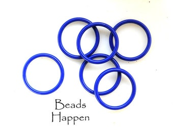 Spirited and Fun 20mm Blue Resin Plastic Rings for Use in Jewelry Designs, Seamless Blue Lapis Colored Rings, Quantity 6