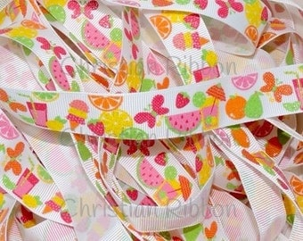 7/8 Friity Summer Citrus Treats US Designer Glitter Ribbon