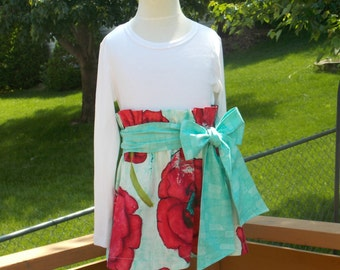 Buy Any 2 Skirts and Get 1 FREE, Field of Poppies Paper Bag Skirt, Size 2, 3, 4, 5, 6, 7, 8, 9, 10, and 12