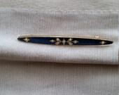 Vintage Bar Pin  enamel and seed pearl
